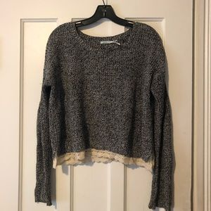 black + white urban outfitters sweater with lace